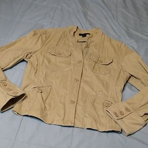 Express Tan Jacket Four Pockets Button Up Medium